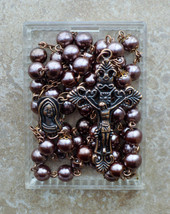 Copper Prayer Rosary Beads - Mary - 8mm Brown Pearl Glass Rosary - $24.95