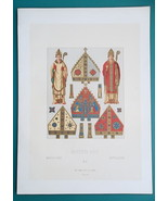 RELIGIOUS COSTUME Middle Ages Bishops - COLOR Antique Print A. Racinet - $14.04