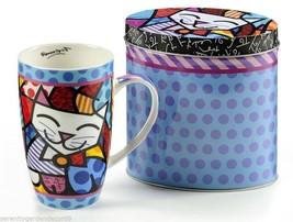 Romero Britto Cat Design Bone China Mug 13 oz in Colorful  Gift Tin #334240
