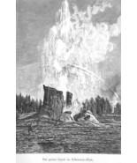YELLOWSTONE Great Geyser - 1883 German Print - $21.60