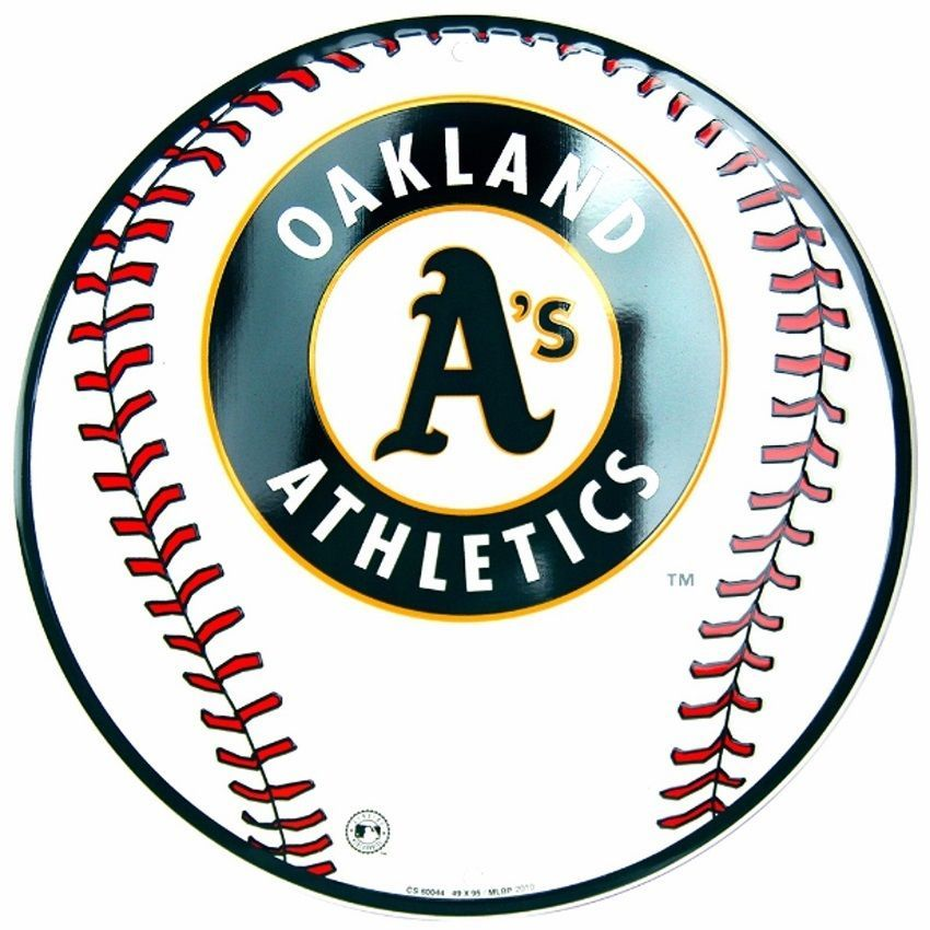 Oakland A's Athletics MLB Embossed Metal Novelty Round Sign for sale  USA