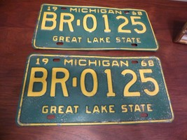 Matched Pair 1968 State Of Michigan License Plate Plates - $46.55