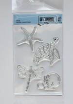 NEW! Water Creatures Stamp Set. Clear Art Journal Stamps. Elizabeth Craft Design