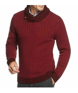 Tasso Elba Men's Red Combo Shawl Collar Ribbed Knit Pullover Sweater Large - $29.69