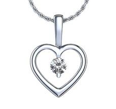 White Gold Fn 925 Silver Round Cut CZ Heart Shape Solitaire Pendant w/ 1... - £16.66 GBP