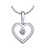 White Gold Fn 925 Silver Round Cut CZ Heart Shape Solitaire Pendant w/ 1... - $20.99