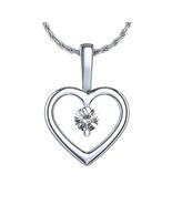 White Gold Fn 925 Silver Round Cut CZ Heart Shape Solitaire Pendant w/ 1... - £16.98 GBP