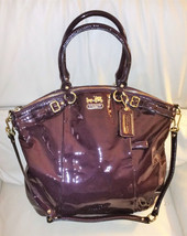 Coach Madison Patent Leather Lindsey Bag Plum 18627 - $168.25