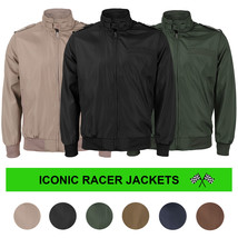 vkwear Men's Athletic Lightweight Water Resistant Slim Fit Racer Jacket