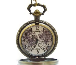 """Pocket Watch Old World Map Bronze Necklace Pendant Antiquish Look 32"""" Chain - $19.79"""
