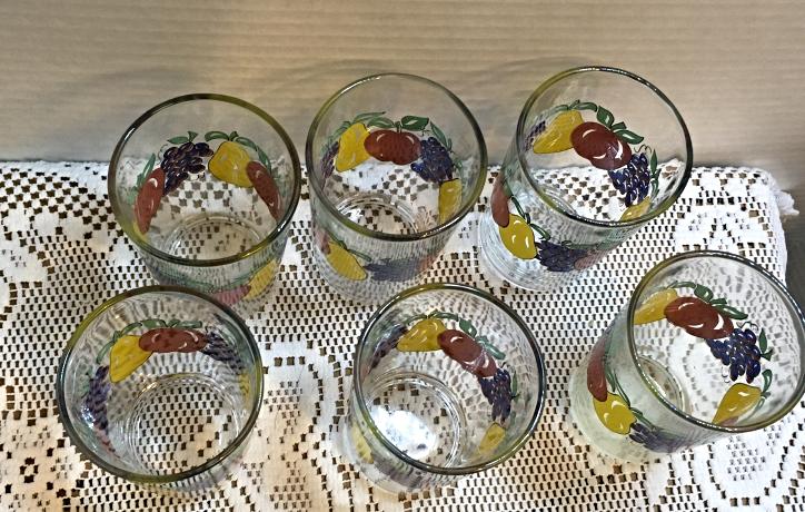 Vintage Set of Six (6) KIG Fruit Themed Juice Glasses Small Tumblers