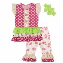 NEW Boutique Girls Pink Ruffle Tunic Dress Floral Leggings Headband Outf... - $19.99