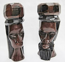 """Wooden Head Busts Hand Carved in Jamaica Man and Woman Set of 2 7.5"""" Tall - $14.84"""