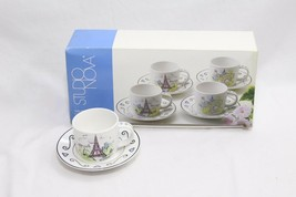Studio Nova Vues de Paris Espresso Cups and Saucers 4 Sets - $44.09