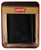 NEW LEVI'S MEN'S LEATHER TRIFOLD CREDIT CARD WALLET EMBOSSED LOGO BLACK 31LV1182 image 1