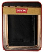 NEW LEVI'S MEN'S LEATHER TRIFOLD CREDIT CARD WALLET EMBOSSED LOGO BLACK ... - $25.73