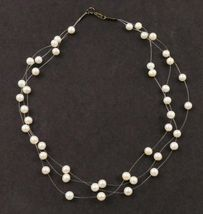 ILLUSION NECKLACE - White Cultured PEARLS 3 string and Sterling Silver c... - $45.00