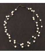 ILLUSION NECKLACE - White Cultured PEARLS 3 string and Sterling Silver closure - £34.64 GBP