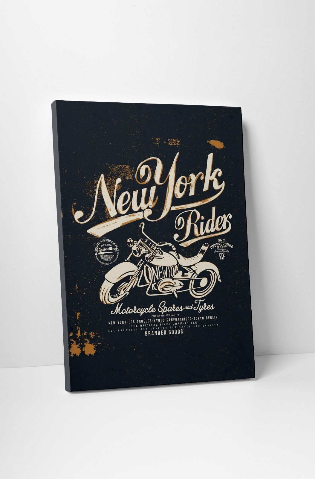 "Primary image for New York Rider Motorcycle Art Gallery Wrapped Canvas Print. 30""x20 or 20""x16"""