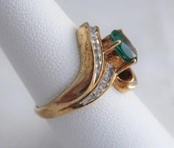 10k Gold Faux Emerald Diamonds Dinner Ring Size 7 Modern Swirl Oval Green 1960s - $88.00