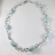 ALUMINUM NECKLACE WITH BLUE AQUAMARINE HAND-MADE IN ITALY 23 INCHES LONG image 2