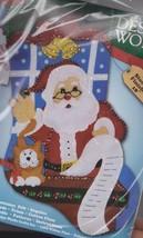 Santa's List Kitten Cat Christmas Holiday Felt Stocking Kit Design Works - $19.95