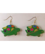 Pierced Earrings Wooden Turtle Green and Multi Colored Spots Dangle Styl... - $12.00