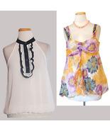 NWT $150+ Blouse Lot Sheer Silk Floral Ruffles 2 Tops - $30.00