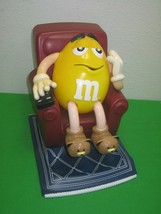 Vintage M&M's Yellow Candy Dispenser Sitting in Recliner with TV Controller - $16.20
