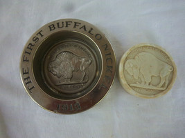 VINTAGE METAL AVON FIRST BUFFALO NICKEL 1913 soap CIGARETTE  ASHTRAY CHA... - $19.99