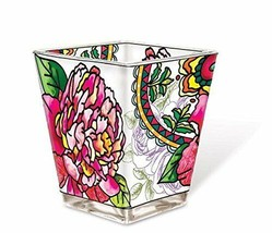 Peony Flowers Tea Light Candle Holder AMIA Hand Painted Glass Pink Peoni... - $19.79