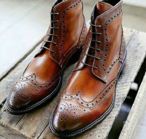 Primary image for Men's Handmade Brown Leather Ankle High brogue Dress Boots Custom Made Men Boots
