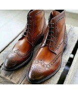 Men's Handmade Brown Leather Ankle High brogue Dress Boots Custom Made M... - £133.68 GBP+