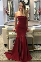 Mermaid Strapless Sleeveless Sweep Train Burgundy Prom Dress - $150.00
