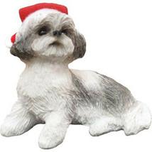 Ornament Shih Tzu Silver/White Lying with Santa Hat (XSO16402) - $14.24