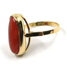 SOLID 18K YELLOW GOLD RING, CABOCHON CENTRAL NATURAL CORAL 18X9mm, MADE IN ITALY image 3
