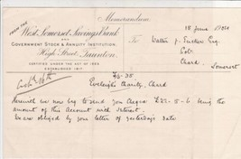 Memorandum from W.Somerset Savings Bank 1904 Accompanying Cheque Note  R... - $7.59
