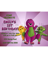 Personalized Barney Birthday Invitation Digital File, You Print - $8.00