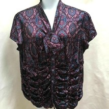 Style & Co 22W Top Purple Red Gray Ruched Classic Print Plus Size Shirt - $21.54
