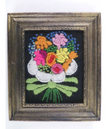 "Vintage Embroidered Framed Flower Bouquet Small 6.5"" x 7.5"", Cottage Sha... - $24.00"