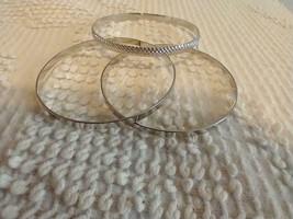 """3 Silvertone 8"""" Textured Smooth Fashion Bangle Bracelet Set,Shiney,Unsigned, - $4.94"""