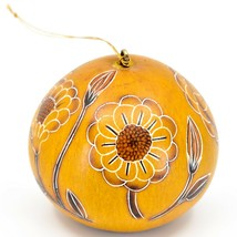 Handcrafted Carved Gourd Art Zinnia Flower Floral Ornament Made in Peru image 1