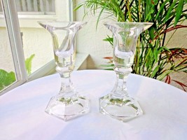 Set of 2 Mikasa Crystal Countess Pattern Clear Single Light Candlestick Holders - $34.64