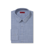 Alfani Red Fitted Blue Checkered Dress Shirt Bu... - $17.95
