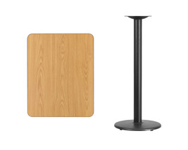 "Offex Rectangular Natural Laminate Table Top with 18"" Round Height Table Base - $154.82"