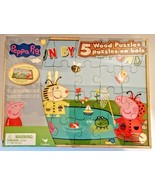 Peppa Pig 5 Wooden Puzzles, Tray and Storage Box, Educational NEW!! - $12.38