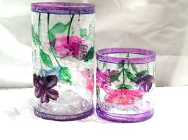 Poppy Crackle Glass Tea Light Holder Yankee Candle NEW TALL & SMALL set ... - $24.69