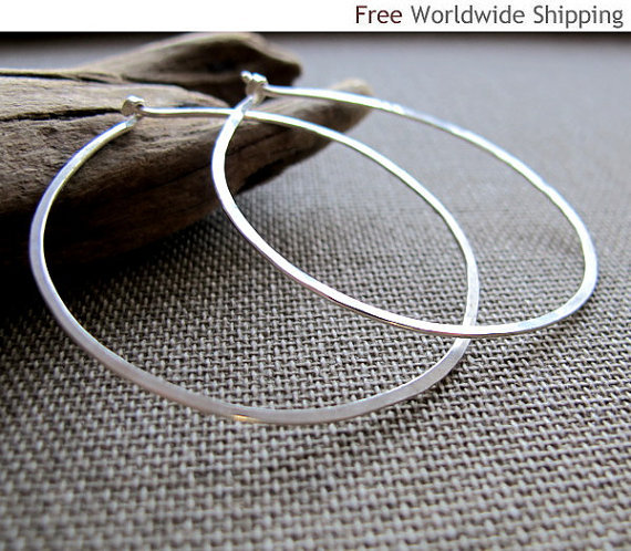 Elegant Hoop Earrings, Fashion Flat Sterling Silver Hoop Earrings