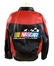Vtg 90s Nascar Racing Soft Black & Red Luxe Leather Retro Bomber Jacket Mens S image 2