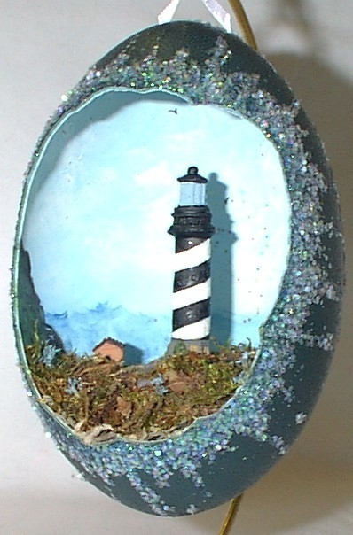 Decorated Egg, Emu Egg, Large Cape Hatteras Lighthouse, Lighthouse Collectible